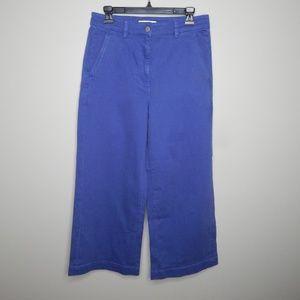 everlane women wide leg crop pants sz 10 blue